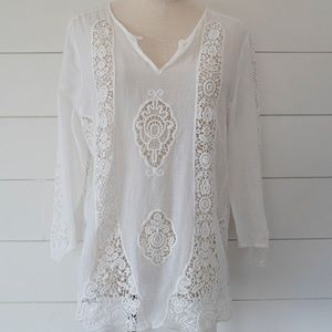 Cynthia Rowley Anthropologie White & Lace Top M
